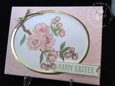 Stampin' Up! ... handmade Easter card ... flowering fruit tree branch ... metallic gold oval frame ... pink card background with embossing folder texture ... luv it!