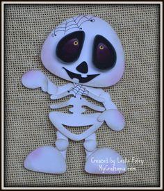 Skeleton Halloween premade scrapbooking by MyCraftopia on Etsy
