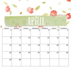 April 2018 Printable Template