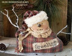 he is a cutie! Merry Christmas To All, Christmas Sewing, Primitive Christmas, Christmas Snowman, Christmas Crafts, Christmas Ornaments, Christmas 2019, Snowman Crafts, Ornament Crafts