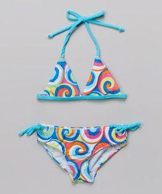 This Blue & Pink Swirl Halter Bikini - Toddler & Girls is perfect! #zulilyfinds