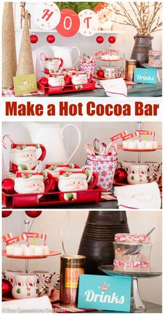 How to make a hot chocolate bar + decorating with HomeGoods Christmas decor. Get this look!  @4gens1roof