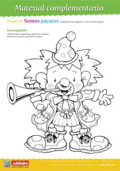 Poyecto: Somos payasos (Complemento de las páginas 4 y 5 de la revista de abril.)Fotocopiable:También podrás ampliarlo par... Black And White Clown, Pattern Coloring Pages, Snoopy, Clip Art, Cartoon, Quilts, Clowns, Comics, Drawings