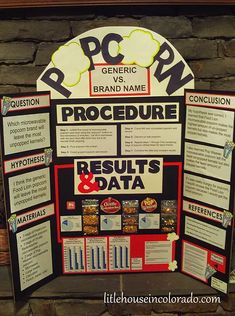 Your Science Fair Project in a box! Our kits include what you need to complete a quality science fair project, including papers, in just a few days. Popcorn Science Fair Project, Science Project Board, Science Fair Experiments, Science Fair Projects Boards, Science Boards, Science Lessons, School Projects, Projects For Kids, Science Fair Board Layout