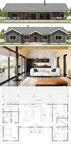 House Plan, Small House Plan, New House Designs Modern House Plans, Small House Plans, House Floor Plans, Cheap House Plans, House Design Plans, Modern House Design, Single Story Homes, Story House, House Layouts
