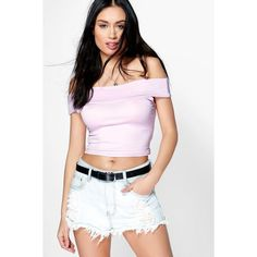 Boohoo Lilly Off The Shoulder Crop Top ($10) ❤ liked on Polyvore featuring tops, lilac, jersey top, high neck top, ribbed crop top, long sleeve crop top and basic t shirt