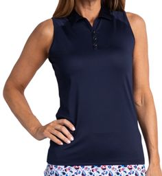 Order your golf apparel online from lorisgolfshoppe.com. Check this out --> HUNTINGTON (Navy) Sport Haley Ladies Hailey Sleeveless Golf Polo Shirt