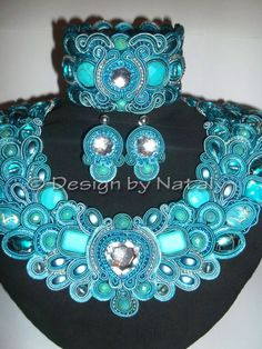 OOAK Soutache Jewelry Necklace Earrings Brecelet by DesignByNataly, $300.00