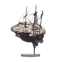 John Behan RHA (b.1938) Famine Ship Bronze and steel, 102cm high x 73cm long (40 x 28¾'') Raised on a polished marble platform base. Previously on sale at ADAM'S. www.adams.ie