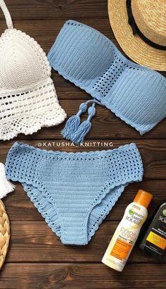 Motif Bikini Crochet, Bikinis Crochet, Crochet Crop Top, Crochet Simple, Crochet Diy, Sewing Clothes, Crochet Clothes, Crochet Bathing Suits, Crochet Summer Tops