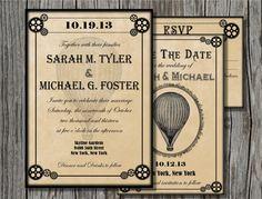 Steampunk Wedding Invitation Bundle - Save the Date, Invitation, RSVP Card (Printable). $17.00, via Etsy.