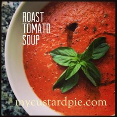 Simple roast tomato soup made with a Vitamix