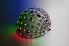 lumahelm. Bike helmet which lights up to keep you visible in the dark.