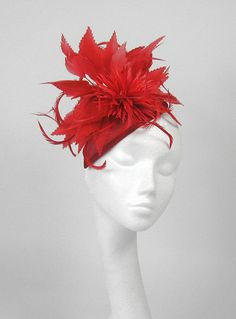 Red Fascinator - finally!!  someone who makes lots of great, different hats, in many colors.  Save for passing along for L's wedding guests!!  Wedding Hat by Hatsbycressida, $125.00-love this!!