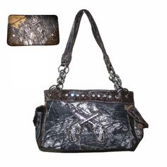 """Camouflage Rhinestone Pistol Women's Handbag Purseand Matching Wallet A11-5117 in Black and Brown (Brown). Beautiful Rhinestone Camouflage Cross design with comfortable handles. High quality leather women's handbag with compartments inside, zippers inside outside and on the top of handbag.1 cellphone pocket one wallet pocket one large pocket inside and pockets on both sides. Size: Handbag is in medium size 13"""" x 10"""" x 5"""", not too big, not too small. Metal cross on the front with…"""
