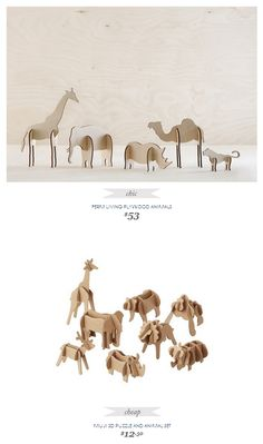 Copy Cat Chic Find | FERM LIVING PLYWOOD ANIMALS vs MUJI 3D PUZZLE AND ANIMAL SET