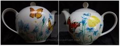 Teapot by Agnieszka Sokołowska on DeviantArt. Hand painted on porcelain. All my porcelains are painted with Talens Decorfin Porcelain and baked in high temperature, so they are pretty durable.