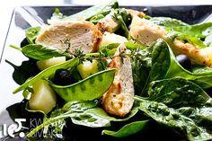 Sałatka ze szpinakiem, kurczakiem i młodymi ziemniaczkami | Kwestia Smaku
