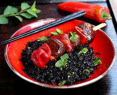 black-rice-mushrooms