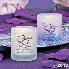"Personalized ""Two Hearts One Love"" Wedding Votive Holders."