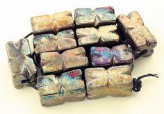 Raku Pinwheel Beads by elementspottery on Etsy, $18.00