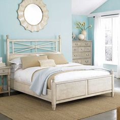 American Drew Americana Home Arbor Gate Queen Low Poster Bed-Weathered White AD-114-323WR $1005.00