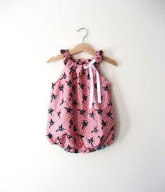 Vintage Pink Birdy Romper Toddler Baby