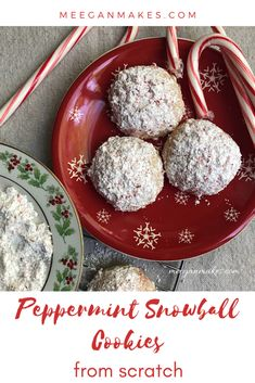 Peppermint Snowball Cookies - What Meegan Makes Holiday Cookie Recipes, Easy Cookie Recipes, Holiday Baking, Christmas Desserts, Baking Recipes, Christmas Cookies, Christmas Recipes, Kinds Of Desserts, Easy Desserts