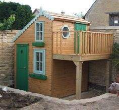 Playhouses outdoor with raised veranda Outside Playhouse, Backyard Playhouse, Build A Playhouse, Outdoor Playhouses, Simple Playhouse, Girls Playhouse, Playhouse Kits, Cubby Houses, Play Houses