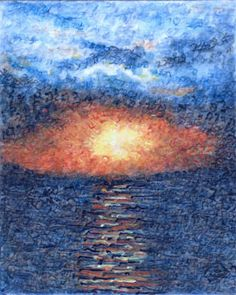 Genesis Aleph is a painting of a sunset that is created with strokes that are the original letters of Genesis 1-2:7