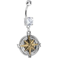 Clear Gem Silver Gold Nautical Compass Dangle Belly Ring