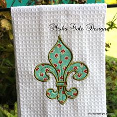 Fleur De Lis Applique Tea Towel Machine by mishacoledesigns, $13.00