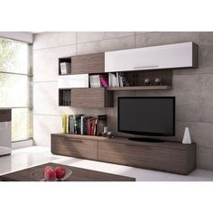 Keep your entertainment area looking tidy and stylish with the Trasman Isola 2 Wall Unit Entertainment Center . The unit is durably built with top-grade. Living Room Tv Unit, Living Room Furniture, Living Spaces, Contemporary Entertainment Center, Entertainment Centers, Casa Top, Modern Tv Wall Units, Low Cabinet, Furniture Deals