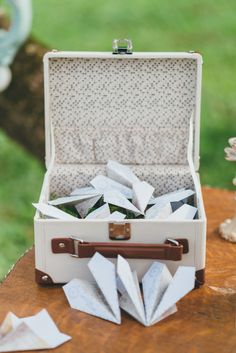 Here is a custom designed Wishing Well that is ideal for the wedding couple with a passion for travel. The miniature Suitcase styling has a touch of vintage flair with contrasting ivory and brown faux leather covering and tag. This will serve as the perfect container for notes of well wishes prepared by your wedding guests. Our novel paper airplane stationery has been specifically designed to add a touch of fun and whimsy to this very original and decorative container.