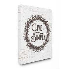 Stupell Live Simply Twig Wreath Distressed Wood Stretched Canvas Wall Art