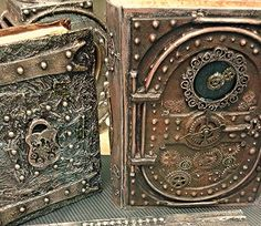 Mixed media Steampunk faux books / boxes by Stewart at www.Stewdio61.com
