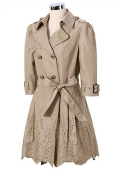 Floral Cut Out Tirm Trench Coat in Tan