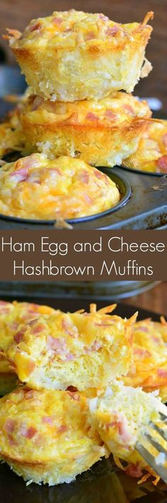"Ham Egg and Cheese Hash Brown Breakfast Muffins. Hash brown ""basket"" are pre-baked and filled with ham, egg, and cheese mixture. These egg muffins are great on the go or for a weekend breakfast. #hamleftover #breakfastrecipes"