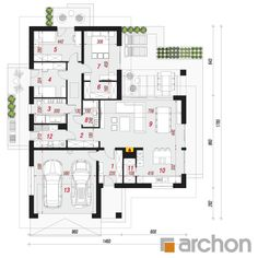 gotowy projekt Dom w widliczkach 3 rzut parteru Pergola, Floor Plans, Houses, Arbors, Floor Plan Drawing, House Floor Plans