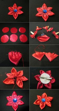 DIY Tutorial craft tutorials / How to make fabric flower hair clips tied with ribbons - Bead&Cord
