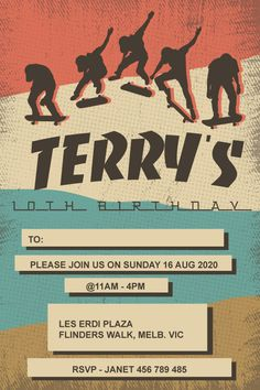 Perfect for the tween boys a totally sick skateboard-themed celebration. Gather your mates with this rad comic strip boys skateboard birthday invitation design. Personalise it using the order form. Send it your way, print, online, text or instant message. You choose how to share it with your family and friends. Birthday Party At Park, It's Your Birthday, Birthday Parties, Online Text, Printable Invitation Templates, Boy Birthday Invitations, Order Form, Disney Theme, Personalized Invitations