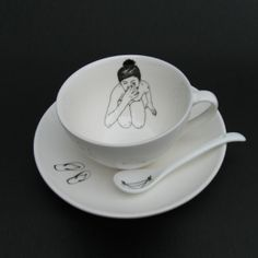 View larger image of Bathing Girls Tea Set (four cups, saucers and spoons each with a different design) by Esther Horchner $59