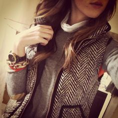 Herringbone Vest with elbow patched sweater