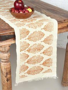 Handspun Handwoven Oak Leaf Blockprinted Table Runner 72in x 14in