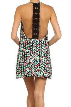 Gorgeous abstract t-back shift dress, scoop neckline, lace detail t-back.