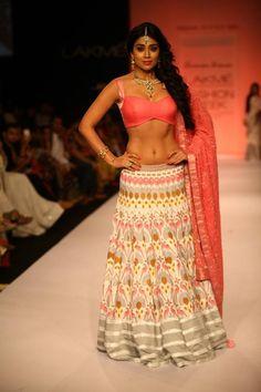 Lakme Winter 2013 Shravan Kumar pink grey orange bridal lehenga