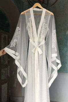 Long Sheer Bridal Robe with Embroidered Sleeves Bridal Lingerie Wedding Lingerie Sheer Robe Honeymoon Lingerie Bride Mesh Robe Dress skirt Honeymoon Lingerie, Wedding Lingerie, Wedding Gowns, Wedding Underwear, Wedding Kimono, Tent Wedding, Wedding Cape, Wedding Wear, Fall Wedding