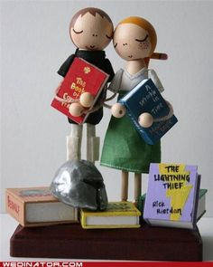 Squee-worthy cake topper for book lovers, geeks, nerds  I approve of A Wrinkle in Time, but that Percy Jackson Harry Potter-ripoff? Hmm, I'd think twice before sticking it anywhere near Beowulf.