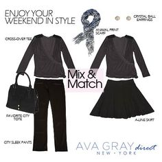 """Mix and Match our """"Cross Over Top"""" with our City Sleek Pants and our A-Line Skirt-- Both looks can we wore day to night, and are perfect for most any occasion! We Wear, What To Wear, Mix N Match, A Line Skirts, Style Guides, Ava, Ootd, Night, Tees"""