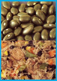 Black bean rice Rice Dishes, Black Beans, Vegetables, Nice, Food, Essen, Vegetable Recipes, Meals, Nice France